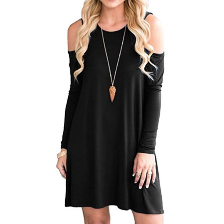 b3e7ddb1ab4f Topcobe Long Sleeve Tunic Tops for Women, Off-the-Shoulder Loose Swing  Dressy for Women, Black Scoop Neck Blouses for Ladies, S-2XL(Asian Size,  TCH2435BM01)