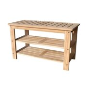 Offex  Solid Teak Wood Outdoor Shoe Bench - Golden Teak