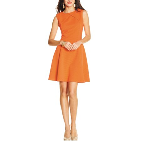 Sharagano Womens Misses Inverted Coral Neckline A-Line Dress