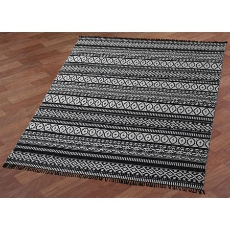 Bungalow Rose Bruges Hand Woven Black White Area Rug