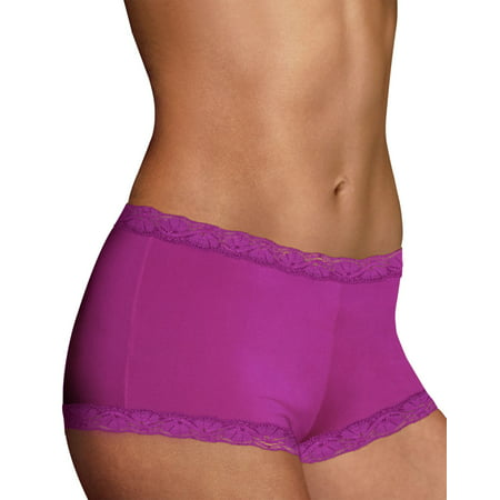 Maidenform Womens Microfiber and Lace Boyshort - Best-Seller, 6,