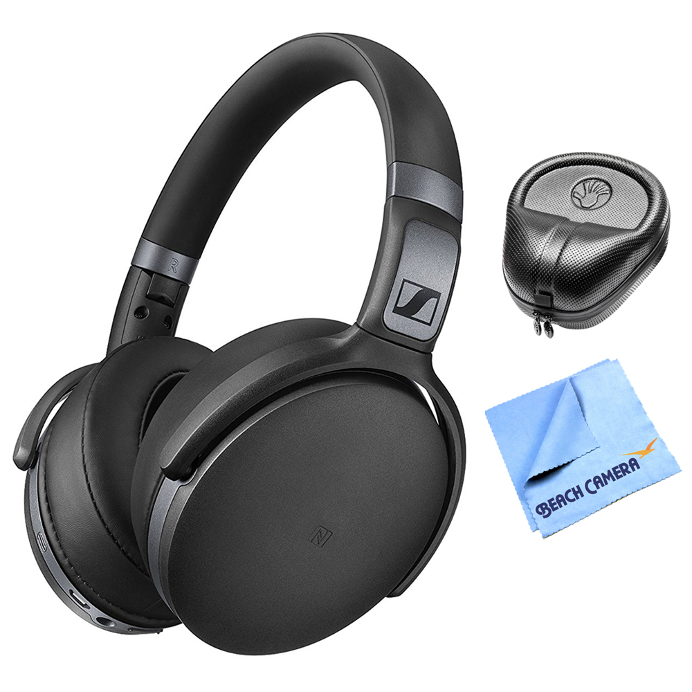 Sennheiser HD 4.40 Bluetooth Wireless Over-Ear Headphones w/ APT-X & NFC Pairing (506782) + Slappa HardBody PRO Full Sized Headphone Case (Black) & 1 Piece Micro Fiber Cloth