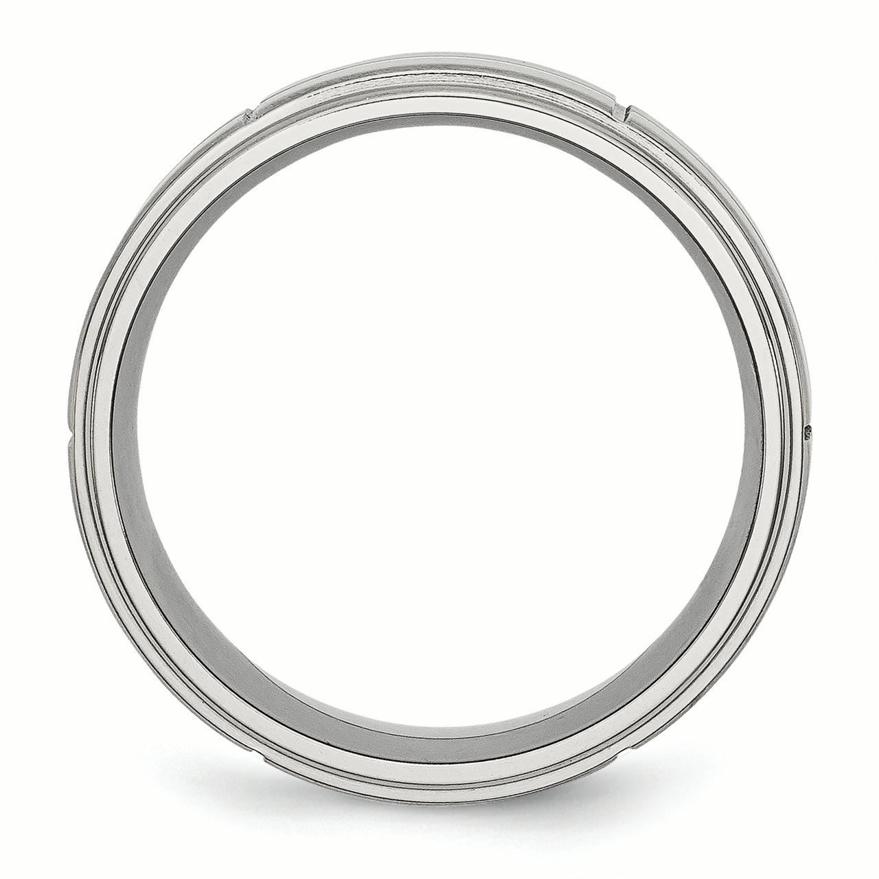 Stainless Steel Grooved 8mm Brushed/ Ridged Edge Wedding Ring Band Size 8.50 Fashion Jewelry Gifts For Women For Her - image 1 de 10