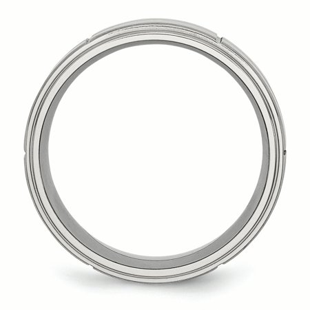 Stainless Steel Grooved 8mm Brushed/ Ridged Edge Wedding Ring Band Size 7.50 Fashion Jewelry Gifts For Women For Her - image 1 de 10