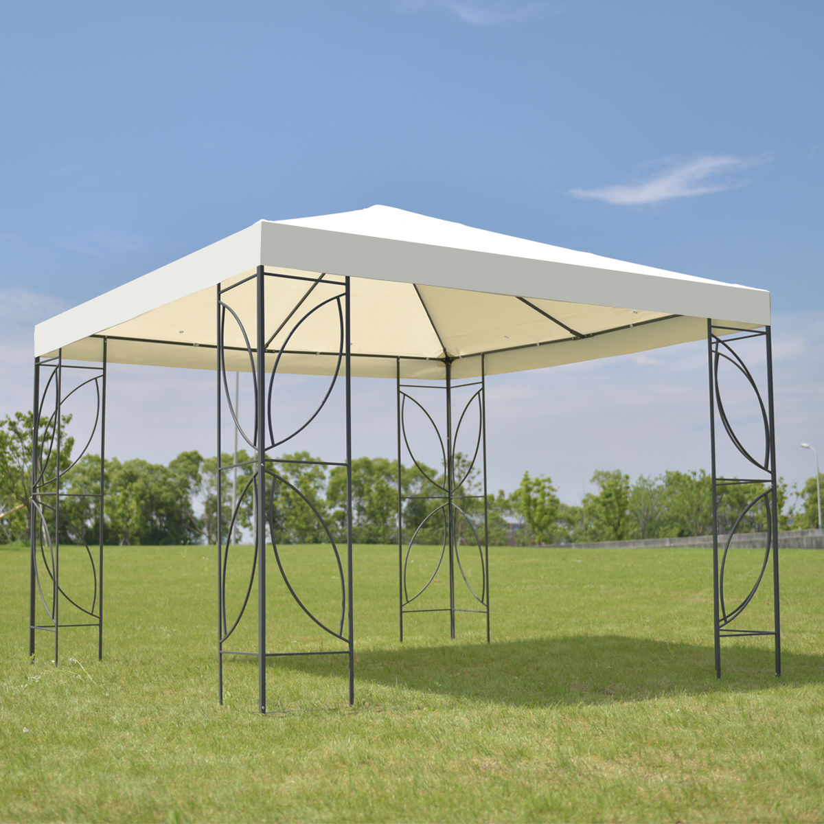 Costway Patio 10'x10' Square Gazebo Canopy Tent Steel Frame Shelter Awning W Beige Cover by Costway