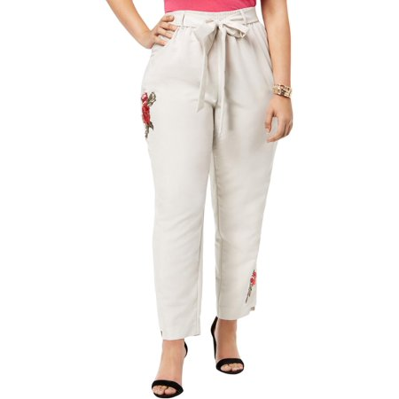 NY Collection Womens Plus Embroidered Floral Print Cropped Pants Da Nang Embroidered Pant
