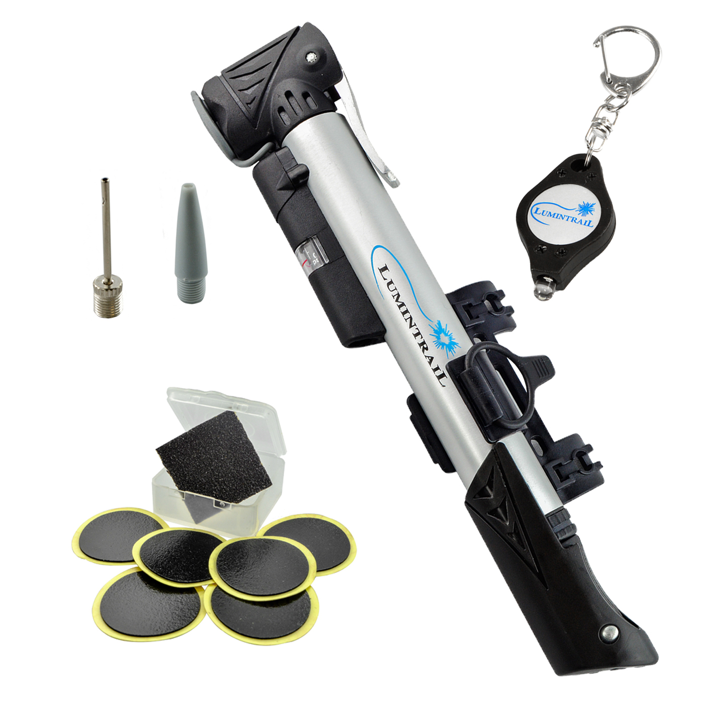 Lumintrail Telescoping Mini Bike Pump with Built-in Gauge plus BONUS Glueless Puncture Repair Kit and FREE Keychain Light - Presta & Schrader Compatible Frame Mount 120 PSI