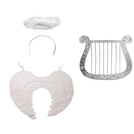 Angel Costume Kit Adult White Wings Harp Halo Valentines Day Accessory Set - Valentine Accessories