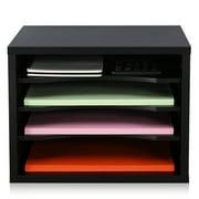 FITUEYES Wooden Desk Workspace Organizers Black FDO403501WB
