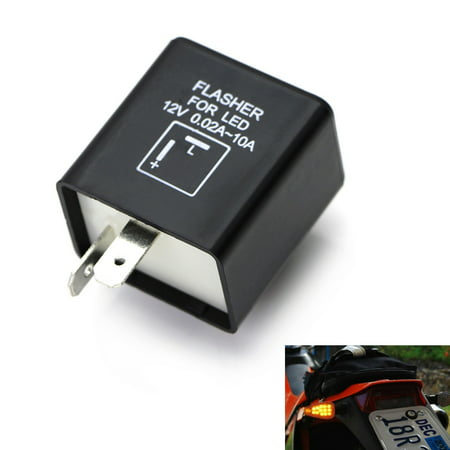 iJDMTOY (1) 2-Pin Electronic LED Flasher Relay Fix For Motorcycle or Scooter Install LED Turn Signal Bulbs Hyper Flash (This Product May Not Be Installed Hyper V)