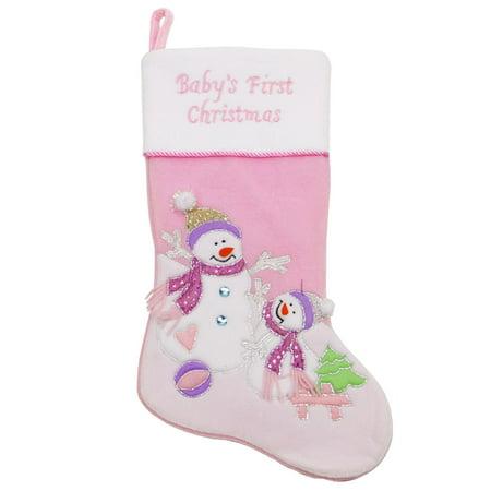 20 light pink babys first christmas velveteen snowman christmas stocking