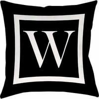 Thumbprintz Classic Block Monogram Decorative Pillow, Black