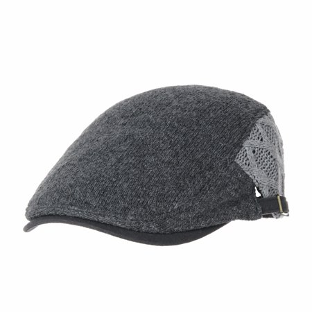 WITHMOONS Wool Twisted Cable Knitted Newsboy Hat Flat Cap Two-Color Block AC3121 (Charcoal) ()