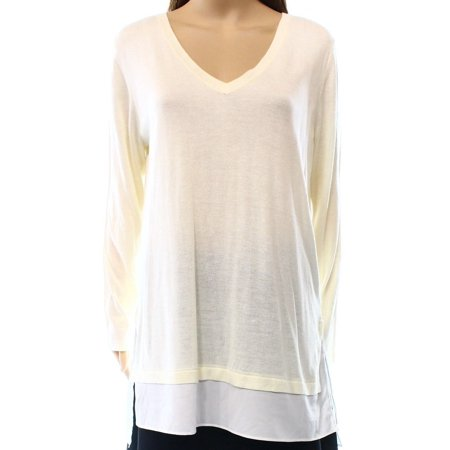 Ralph Lauren Womens Layered Silk-Blend Pullover Sweater