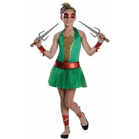 Teenage Mutant Ninja Turtles Raphael Girls Halloween Dress Up / Role Play Costume