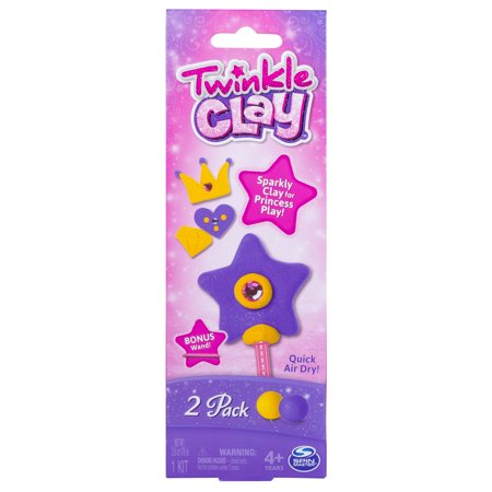 Twinkle Clay – Yellow and Purple 2-Pack with Bonus Wand, Makes Sparkly Air-Dry Clay Creations, for Ages 4 and Up](Make Clay Charms)