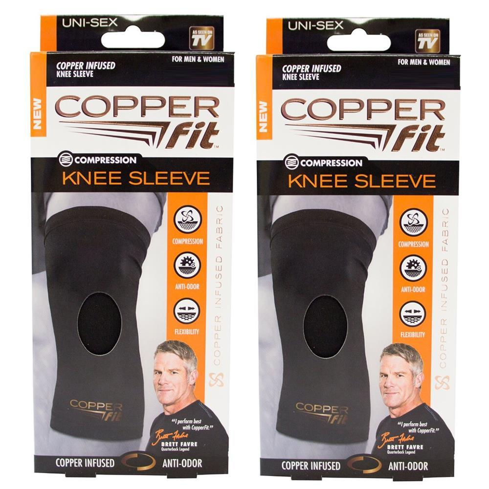 Copper Fit Recovery Infused Compression Knee Sleeve XL 2-Pack Anti-Odor Unisex Stretch