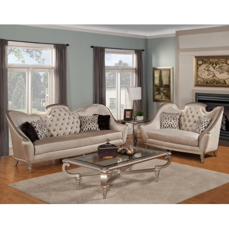 Benetti' Sofia Luxury Pearl Silk Chenille Sofa Loveseat Tables Set 4Ps Sp Order