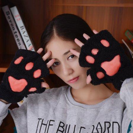EFINNY Women Fluff Cartoon Cats Cute Gloves Warm Hand Wrist Winter](Cartoon Hand Gloves)