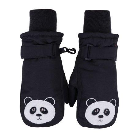 Girl's 3M Thinsulate Waterproof Winter Ski Mittens Skiing Gloves, Panda,