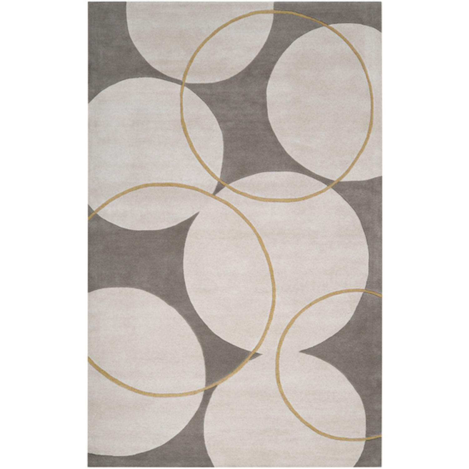 2' x 3' Bubble Spectacular Parchment and Mustard Yellow Wool Area Throw Rug