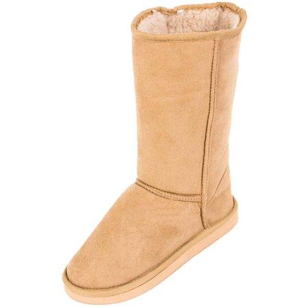 Cammie Women's Classic Faux Sheepskin Fur Winter - Tall Brown Boots