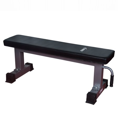 AKONZA Flat Bench Weight 1.000 lb Sit Up Bench Strength Training Abs Exercises w/ Handle & Wheels ()