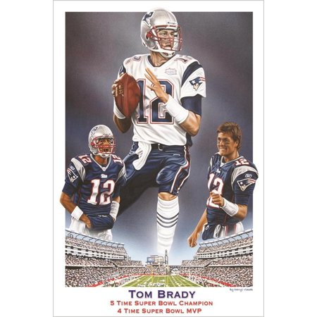 Buyartforless Tom Brady 5 Time Super Bowl Champion 4 Time Super Bowl MVP 36x24 Sports Art Print Poster