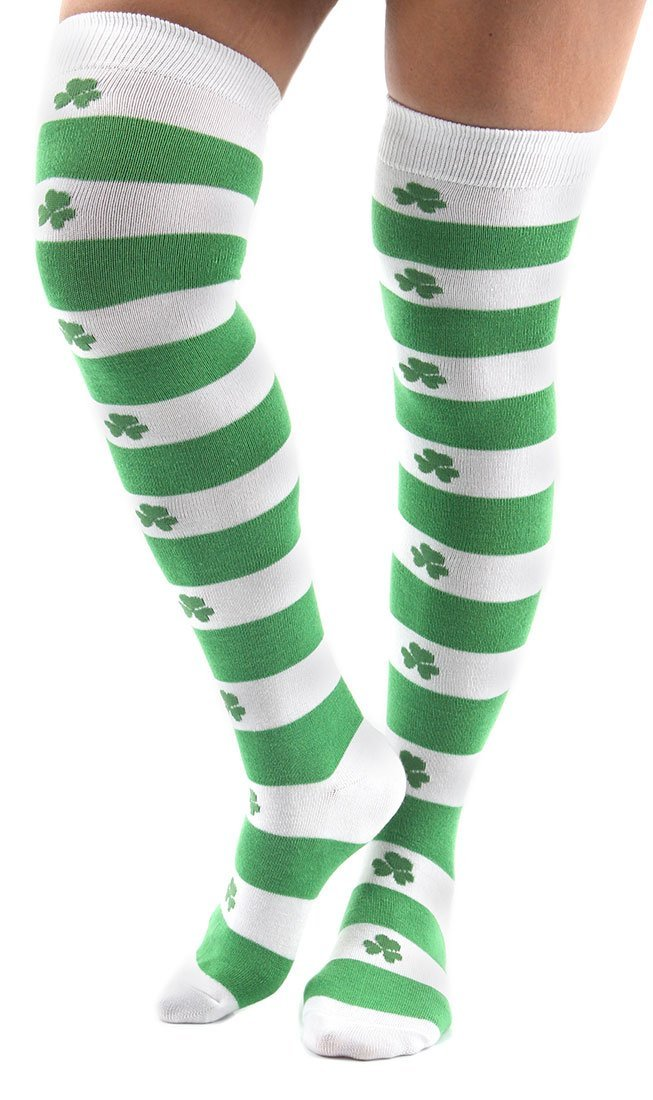 St. Patricku0027s Day Shamrock Knee High Socks Costume Accessory Adult - One  Size