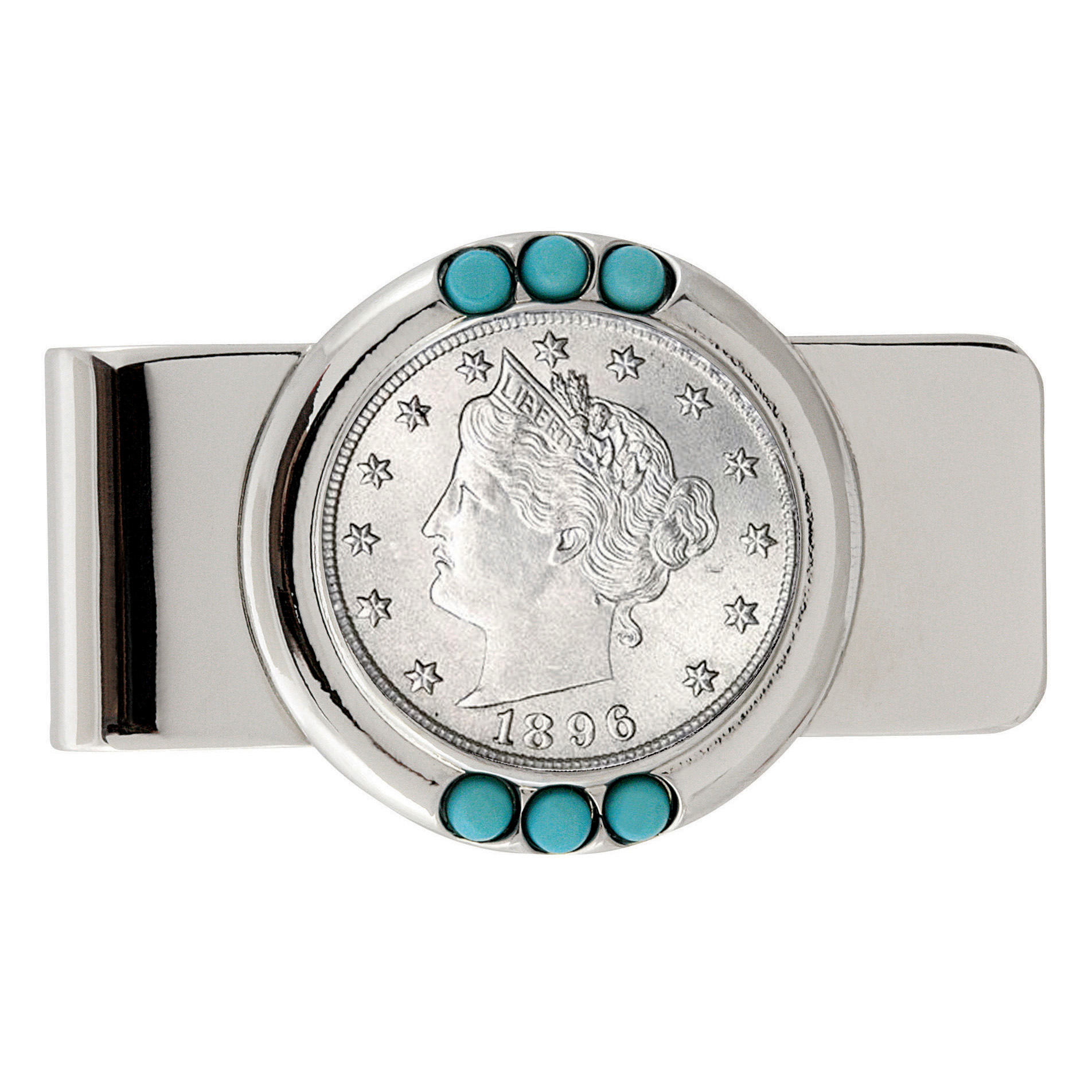 1800's Liberty Nickel Turquoise Coin Money Clip