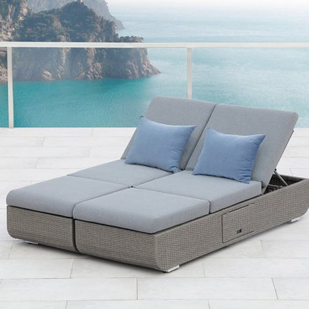 Astonishing Ove Decors Nadia Double Gray Outdoor Chaise Lounge Chair Pabps2019 Chair Design Images Pabps2019Com