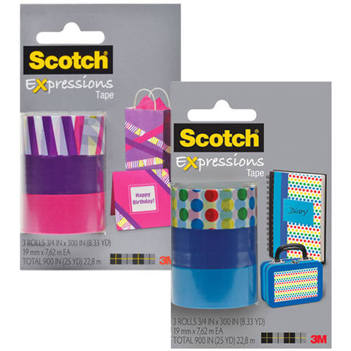 "Scotch Expressions Magic Tape, 3/4"" x 300"", Assorted, 3-Pack, Your Choice of 2"