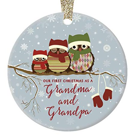 Our First Christmas as Grandma & Grandpa, New Grandparents Ornament, Owl Family Porcelain Ornament, 3