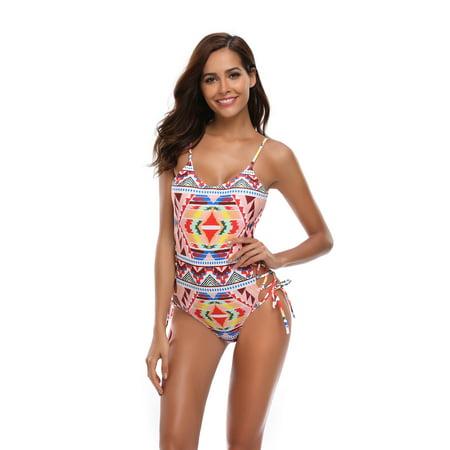 3201286e83 Sexy Dance - Maldivian Print Swimwear Swimsuit Bandage Beachwear Monokini  Swimming Costume Bathing Suit PUSH-UP BRA Sexy Padded One-Piece for Ladies  Women ...