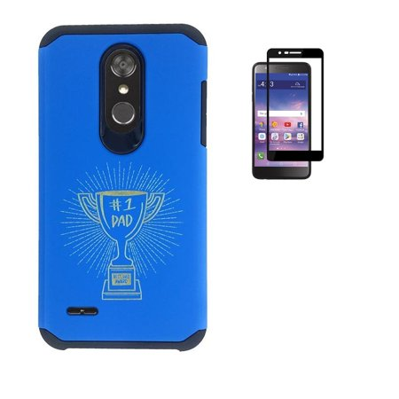 For LG Premier Pro LTE (L413DG, L413DL), LG K30, LG K10 (2018), Hybrid Shockproof Slim Hard Cover Protective Case with Trophy Word Art + Tempered Glass Screen Protector (Blue) (Trophy Phone Case)