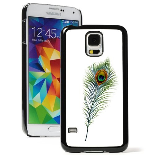 Samsung Galaxy (S5 Active) Hard Back Case Cover Peacock Feather (Black)