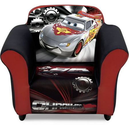 Disney Pixar Cars Kids Upholstered Chair with Sculpted Plastic Frame by Delta Children ()