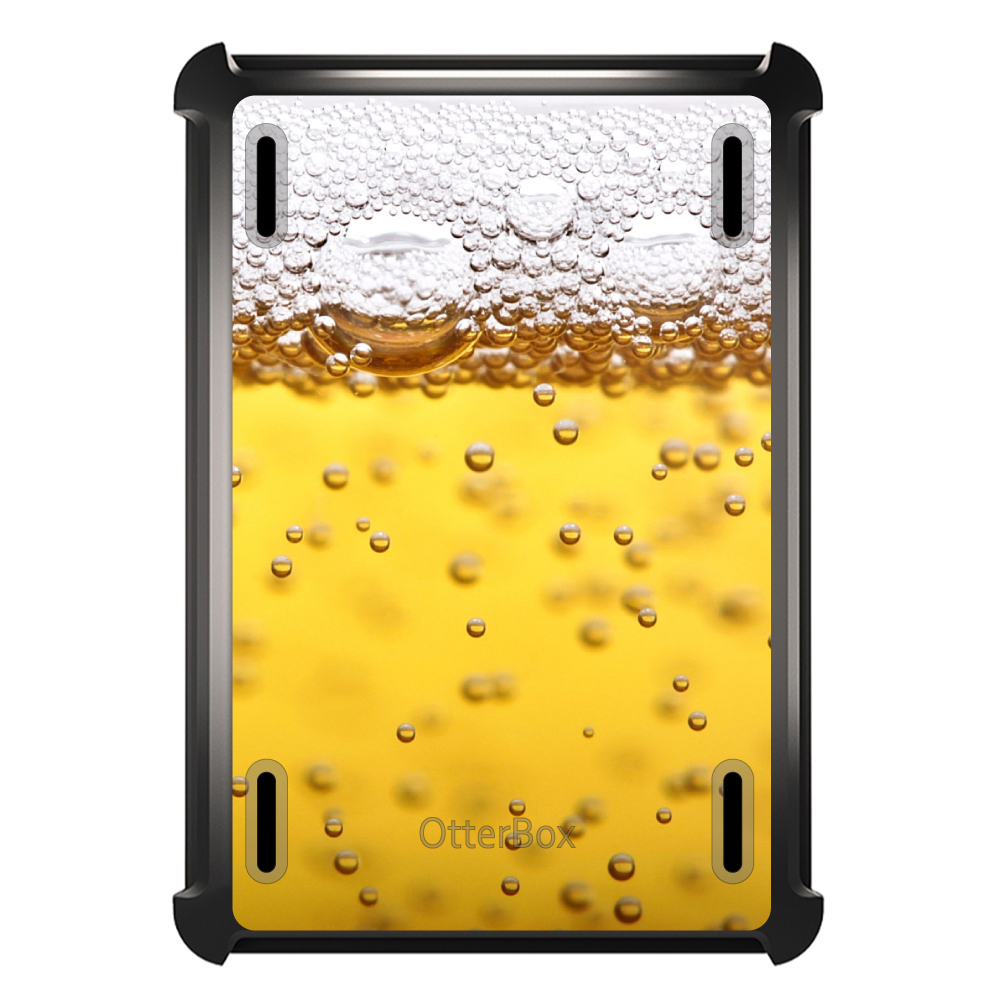 CUSTOM Black OtterBox Defender Series Case for Apple iPad Air 2 (2014 Model) - Beer Glass Foam Bubbles