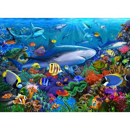 Shark Reef Poster Print by Gerald Newton
