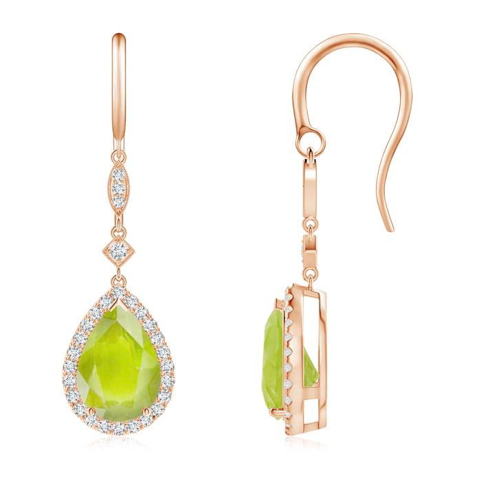 Angara Pear Shaped Peridot Drop Earrings in Rose Gold J5EJOCI5B