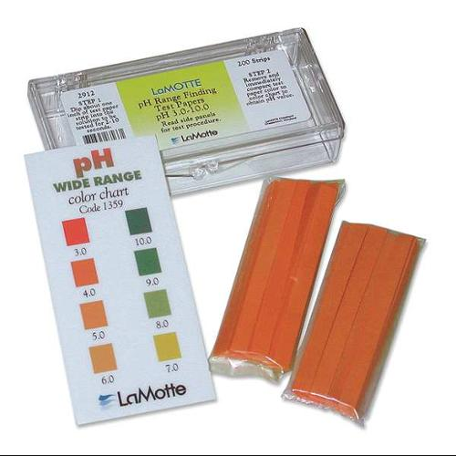 LAMOTTE 2912 Test Strip, pH, Range 3 to 10, Pk 200