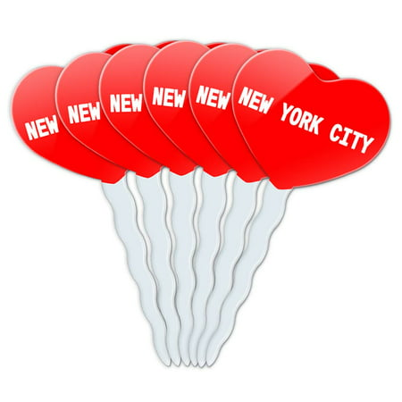 New York City Heart Love Cupcake Picks Toppers - Set of 6