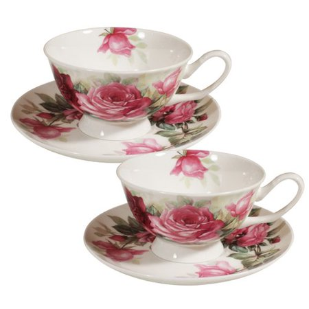 Astoria Grand Polla Splash Rose Bone China Teacup and Saucer