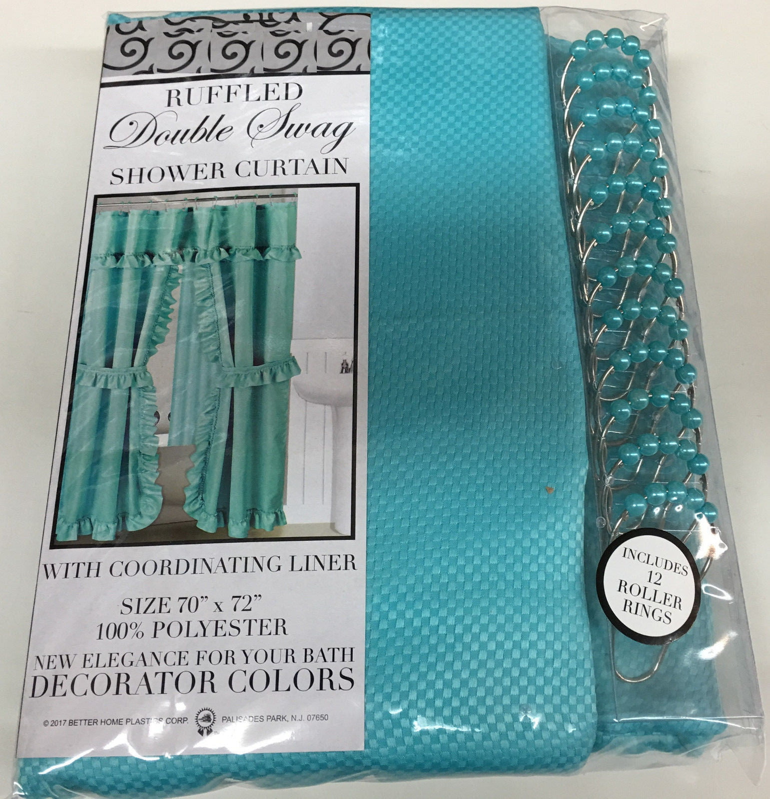 Mosaic Double Swag Fabric Shower Curtain Liner And 12 Roller Hooks Lavender