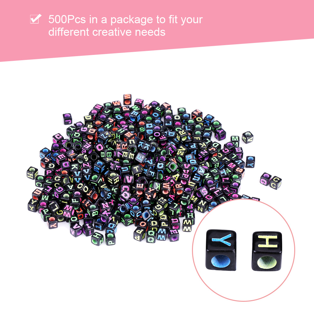 100PCS 6 mm Argent//Multi Cube Acrylique Alphabet Perles pour Fabrication de Bijoux