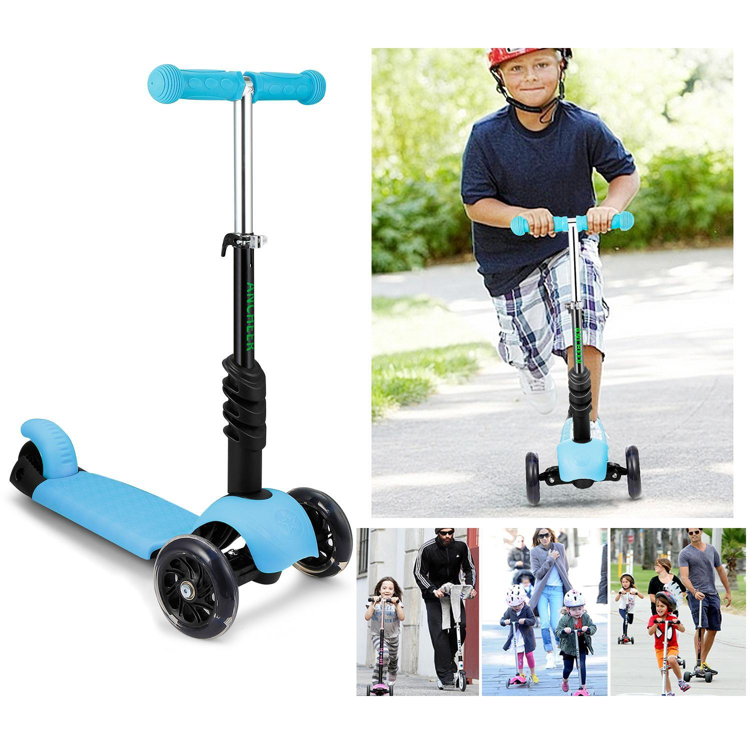 Kids 3 Wheel Scooter with Seat and Flashing Wheels Preschool Scooter ECLNK