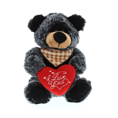 Super Soft Plush Dollibu Sitting Black Bear Red I Love You Valentines Plush