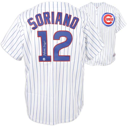 Alfonso Soriano Chicago Cubs Autographed White Pinstripe Majestic Replica Jersey - Fanatics Authentic Certified