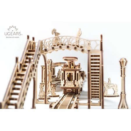 UGEARS Tram Line Model Kit 3D Puzzles for Adults Mechanical Models Wooden  Puzzle Brain Teaser Construction Craft Kits for Adults DIY Puzzle Learning