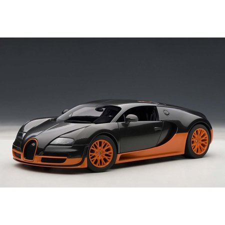 Bugatti Veyron Super Sport Edition Carbon Fiber Black With Orange 1/18 Diecast Car Model by